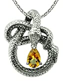 Sterling Silver 925 Pendant Necklace GENUINE GEMSTONE 3 Cts with RHODIUM-PLATED Finish, Snake Design (citrine)