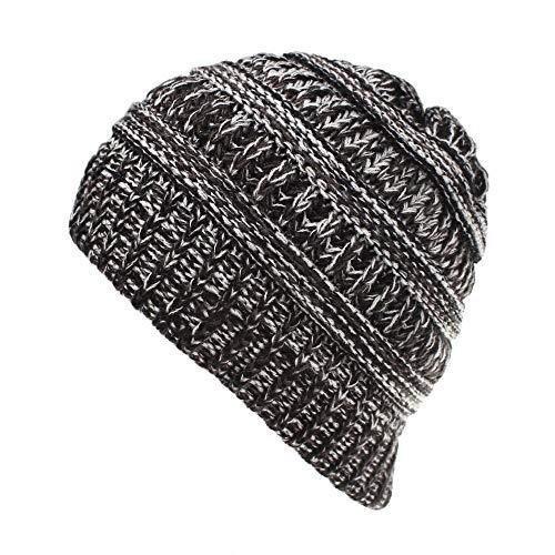 Kids Knit Beanie BeanieTail Children's Messy Bun Beanie Solid Ribbed Hat