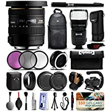 "Sigma 10-20mm F3.5 EX DC HSM Lens for Nikon (202306) with 3 Piece Filter Set (UV-CPL-FLD) + Stabilizer Handle + Sling Backpack + 67"" Monopod + Dual Lens Flipper + E-TTL Flash + Wrist Strap + More"