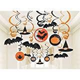 Amscan New Age Scare Halloween Party Witches and Bats Swirl Ceiling Hanging Decoration (30 Piece), One Size, Multicolor