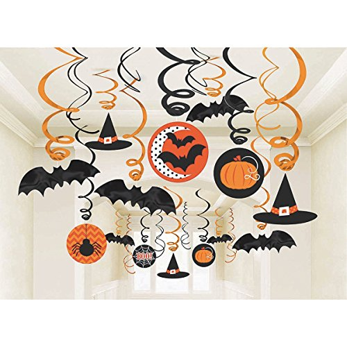[Amscan New Age Scare Halloween Party Witches & Bats Swirl Ceiling Hanging Decoration (30 Piece), One Size,] (Halloween Decorations)