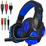 Gaming Headset with Mic and LED Light for Laptop Computer, Cellphone, PS4 and so on, DLAND 3.5mm Wired Noise Isolation Gaming Headphones - Volume Control.( Black and Blue )