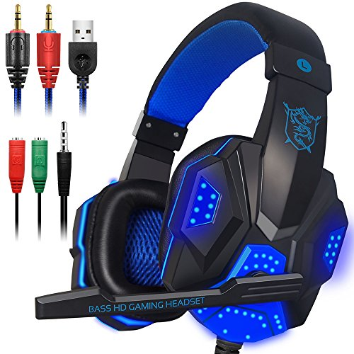 Gaming Headset with Mic and LED Light for Laptop Computer, Cellphone, PS4 and so on, DLAND 3.5mm Wired Noise Isolation Gaming Headphones - Volume Control.(Black and Blue)
