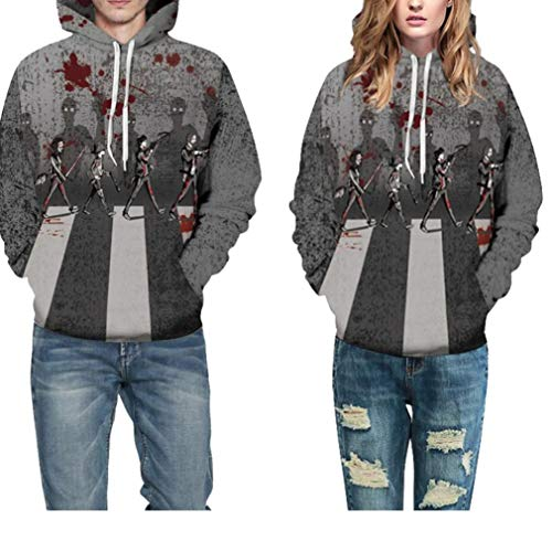 Halloween Costume Women Men Scary Skeleton Blood 3D Print Hoodie Sweatshirt Top(D,L/XL) ()