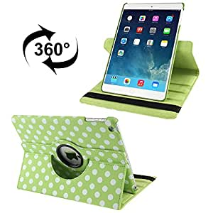 360 Degree Rotation Green and White Dot Pattern Leather Case with 3 Gears Holder & Sleep / Wake-up Function for iPad Air