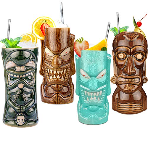 Tiki Mugs Set of 4 — Large Ceramic Hawaiian Luau Party Mugs Drinkware Tiki Bar Mugs for Cocktails Premium Tropical Cups…