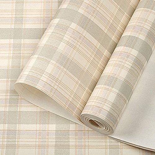 Vintage Modern Scottish Tartan Plaid Wallpaper Country Cottage Plaid Check Wall Paper For Study Room Walls Covering Pink Beige, Pale Green,5.3m²
