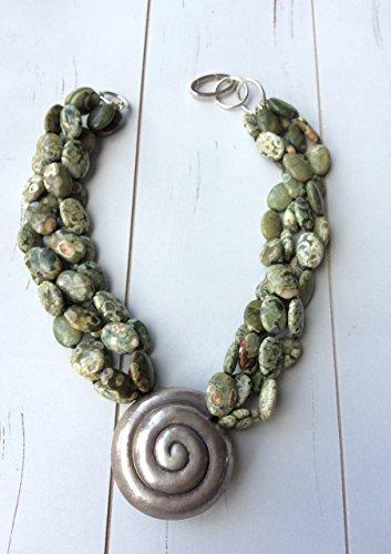 Multi Strand Necklace of Rainforest Jasper with Big Thai Silver Pendant