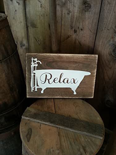 Rustic Bathroom Sign, Relax Bathroom Sign, Rustic Farmhouse Wooden Signs, Bathroom Décor, Primitive Wood Signs