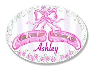 The Kids Room by Stupell Ashley, Pink Ballet Slippers Personalized Oval Wall Plaque