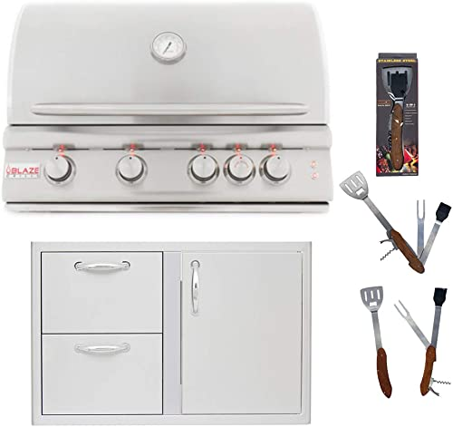 Blaze 32-Inch 4 Burner LTE Natural Gas Grill and Blaze 32-Inch Access Door Double Drawer Combo with 5 in 1 BBQ Tool Set Best of Backyard Package Deal