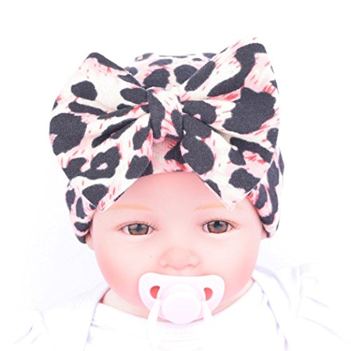 Tenworld Big Bow Baby Beanie Cap Leopard Newborn Hospital Hat (Pink)