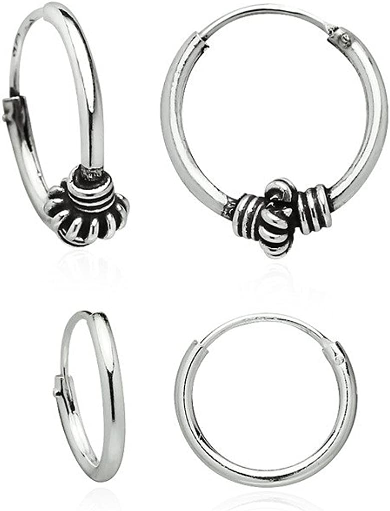 2 Pairs Set Super Small Mini Hoop Earrings Sterling Silver 925 USA Seller 10mm