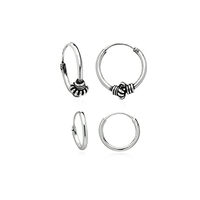 266ff9bf6 Amazon.com: 925 Sterling Silver Small Endless Hoop Earrings Balinese Style  | Set of 2 10, 12mm: Jewelry