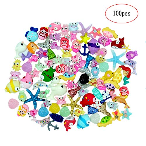 Slime Charms Cute Set Mixed Mermaid Tail,Unicorn,Ducks and Animals,Resin Flatback Slime Beads for Kids and Adults Craft Making,Ornament Scrapbook DIY Crafts(100pcs) (Mermaid Miniature Figurines)