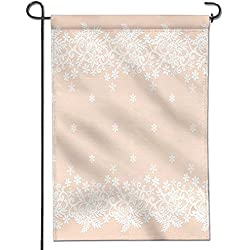 "SCOCICI1588 Flowers Welcome Garden Flag template for wedding invitation or greeting card with white lace border Vertical Outdoor & Indoor Decorative Double Sided Flag 12"" x 18"""