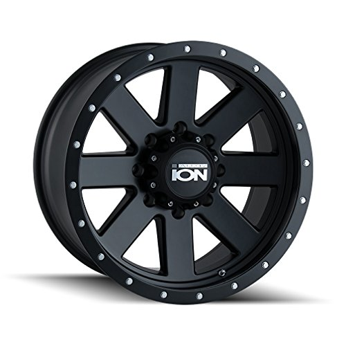 Ion 134 Matte Black Beadlock Wheel with Painted Finish (20 x 9. inches /5 x 139 mm, 18 mm Offset) (24 Inch Rims Dodge Ram 1500)