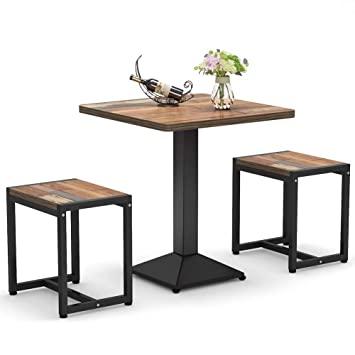 Tribesigns 3-Piece Bistro Table Set, Small Dining Table Set with Stools for  Kitchen, Breakfast Nook, Porch, Balcony, Backyard, Small Space