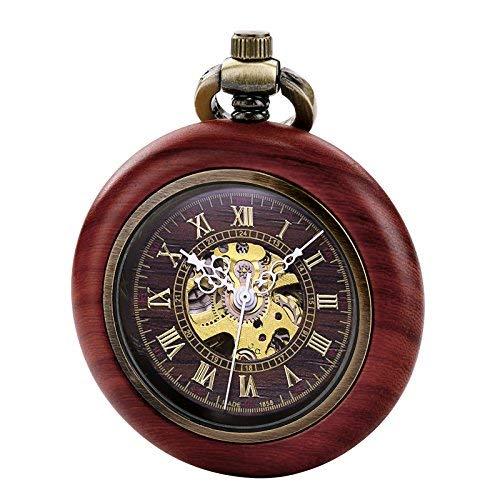 TREEWETO Vintage Wood Automatic Mechanical Pocket Watch for Men Women Steampunk Skeleton Dial with Chain + Gift Box (Skeleton Automatic Pocket Watch)