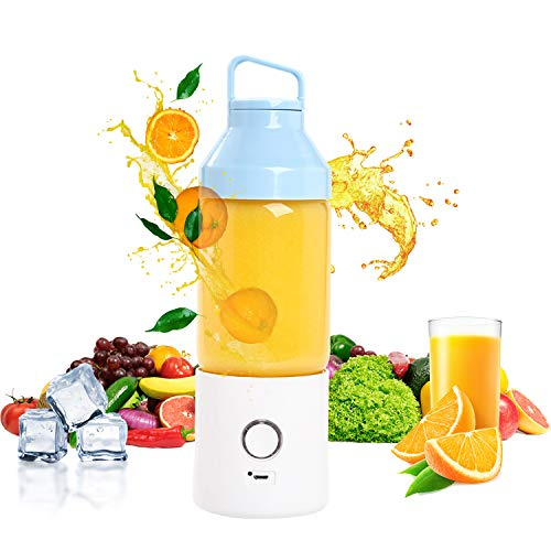 Rozi Portable Blender, Cordless Mini Juicer Blender, Waterproof Smoothie Juicer With USB Rechargeable, Six Blades in 3D, BPA Free Tritan, 480ml, Home, Office, Sports, Travel, Outdoors(Blue)