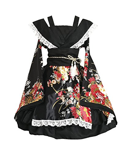 AvaCostume Womens Flower Printing Lace Edge Kimono Stlye Lolita Dress , Black S