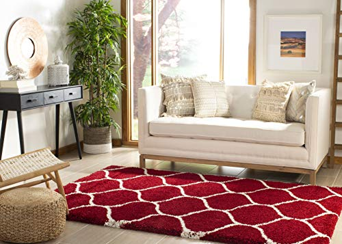 - Safavieh Hudson Shag Collection SGH280R Red and Ivory Moroccan Ogee Plush Area Rug (5'1