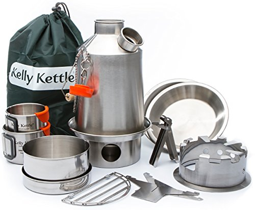 - Kelly Kettle Camp Stove Ultimate Stainless Steel Scout Kit - Medium - Holds 41 oz Water - Boils Water Within Minutes, Uses Natural Fuel Enables You to Rehydrate Food Cook a Meal