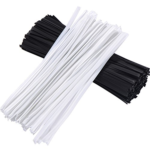 Shappy 500 Pieces 5 Inch Plastic Twist Ties, White and Black