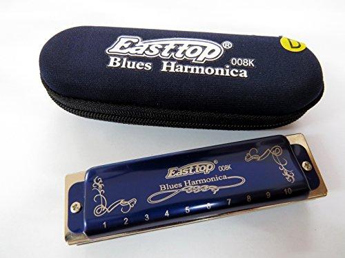 Easttop Diatonic Harmonica Standard 10 Hole Harmonica Key of D with Case,Harmonicas For Adults,Harmonica for Kids