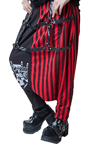 japan street punk harajuku Sign of the horns striped slack harem pants JAG0003 (red)