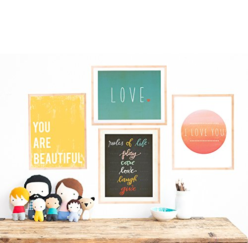 Rules of Life Collection, Set of Four 11x14 Wall Art Prints, Nursery Decor, Kids Room Decor, Gender Neutral Nursery Decor, Baby Room, Playroom Decor, Eco Friendly, Baby Shower, You Are Beautiful