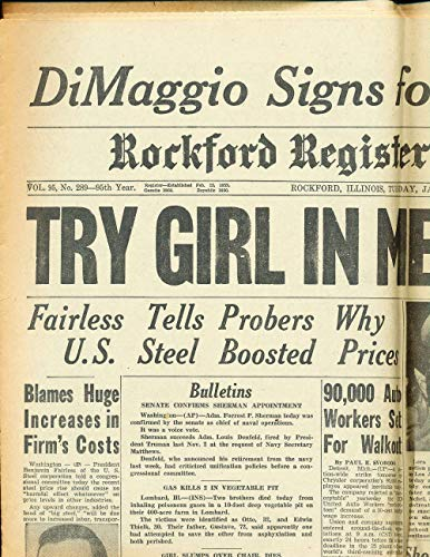 Jan 24 1950 Joe Dimaggio Signs For 100,000 Rockford Register paper BBProg1 from P&R publications