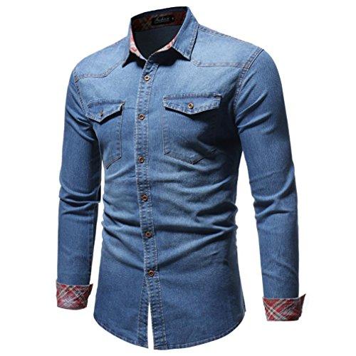 Realdo Men's Autumn Winter Vintage Distressed Solid Denim Long Sleeve Button Down T-Shirt Top Cardigan(Blue,X-Large)]()