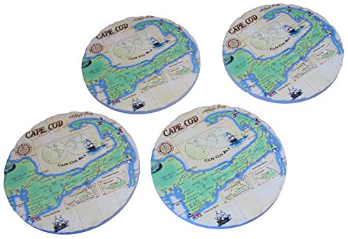 Absorbent Stone Coasters - Set of Four (Cape Cod Map)