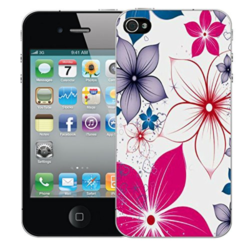 Mobile Case Mate iPhone 5 Silicone Coque couverture case cover Pare-chocs + STYLET - Pink Poinsettia pattern (SILICON)