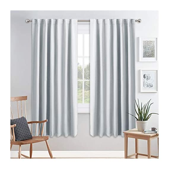 "PONY DANCE White Curtain Panels - Room Darkening Light Filtering Window Draperies Back Tab/Rod Pocket Blackout Curtains Home Decor, 52 Wide by 72 Long, Greyish White, 2 Pieces - READY MADE: 2 panels of Heavy-duty blackout curtains includes, each measures 52"" wide x 72"" Long(total width - 104""). 7 back tabs and 3"" rod pocket top fits most standard rods and makes the maximize coverage of windows. VERSATILE STYLES: Dual header(Back Tab and Rod Pocket) enable you to decorate your home with different styles according to your preference. Curtains can be styled in 3 ways: back Loops, rod pocket or with your own clip-rings. INNOVATIVE FABRIC: PONY DANCE blackout curtains with no liner feature triple-weaved fabric construction. The shading rate ranges from 60% - 75% due to different colors (Dark color works better) and it also block UV rays. - living-room-soft-furnishings, living-room, draperies-curtains-shades - 519 8haqsCL. SS570  -"