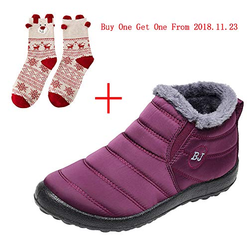 Goldweather Women Winter Warm Snow Boots Casual Slip On Plus Velvet Flat Ankle Boots Home Shoes (US:8, Wine)