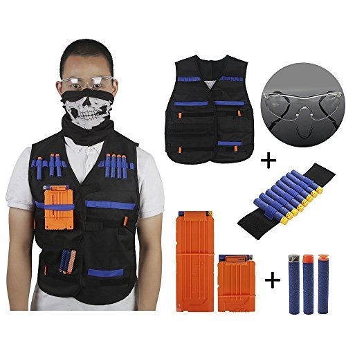 - Kids Tactical Vest Kit with Refill Darts Reload Clips Face Tube Mask and Protective Glasses