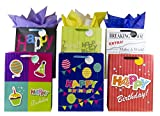 12 Designer Birthday Gift Bags 16'' x 12'' x 6'' (Large) Assorted Designs by Heart Paper Products