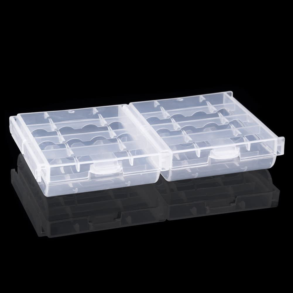 Hard Plastic Case Holder Storage Box Cover AA//AAA Battery Holder,White Battery Case for AA//AAA 6 Pcs 4 Slots Battery Holder Cases