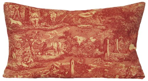 Traditional Red Decorative Throw Pillow Case French Toile Pattern Cushion Cover Les Veneurs Marvic Textiles 20