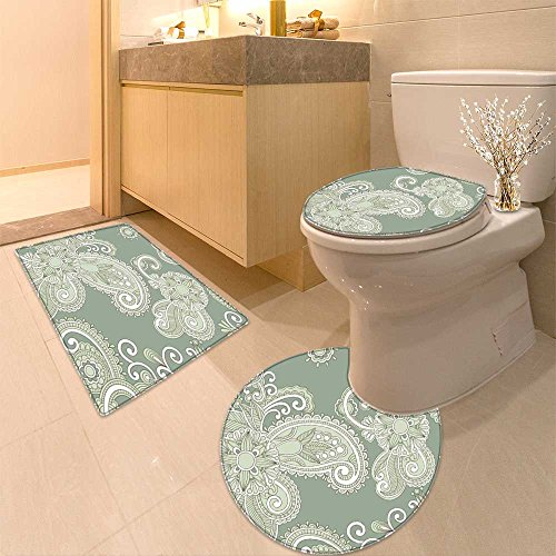 Pear Turquoise Necklace - 3 Piece Bath Rug Set beach sand pear necklace shel like a summer vacation symbo in turquoise caribbean se Textures Non-Slip Bathroom Mats Contour Toilet Cover Rug