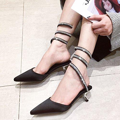 Tip Hauts De Boots SHOESHAOGE Satin Soie Et De Fine Rome Sandales Placage Des Talons Cool EU35 Forage Eau Avec xtq8q1Y
