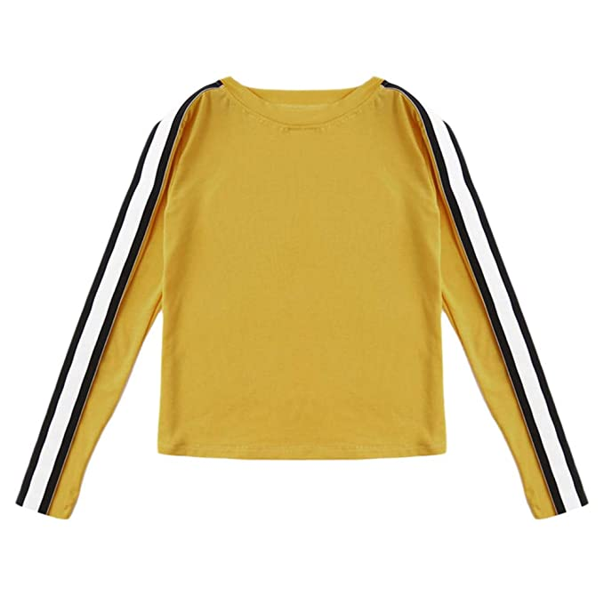 5488c62d0131ed FimKaul Striped Ginger Tee Ladies Round Neck Long Sleeve Tops Spring Autumn  Women Clothing Casual T