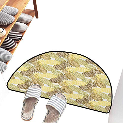 (Axbkl Non-Slip Door mat Pineapple Summer Themed Overlapping Curving Tropical Pineapples with Lines Print Antifouling W36 xL24 Gold Bronze White)