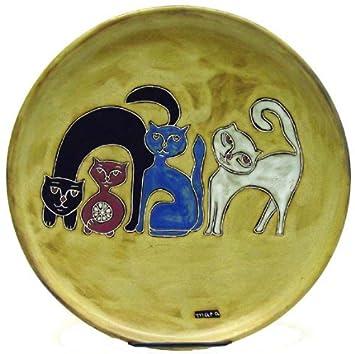 Mara de cerámica gres 12 inch gatos tonos tierra plato para servir: Amazon.es: Hogar