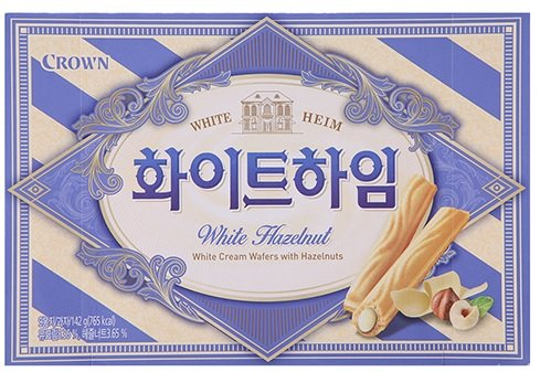 Crown Cream Filled Wafer Cookies with Hazelnut 142g (White, 1 Pack)