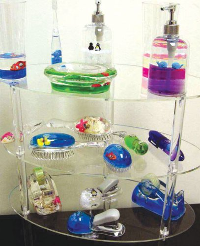 (CHILDREN'S BATHROOM SET - LUCITE WITH OCEAN THEME-3 PIECES)