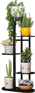 Indoor Display Rack 5 Tier Metal Plant Stand Flower Pots Holder (Black)