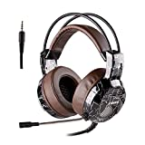 XIBERIA Xbox One PS4 Gaming Headset, 3.5mm Wired with Microphone for PC Over Ear Wired stereo Computer Headphones, Volume Control Enhanced Bass Noise Canceling Flexible Headband for PC Laptop (Brown) Review